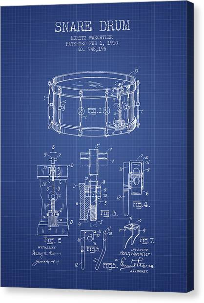 Snares Canvas Print - Waechtler Snare Drum Patent From 1910 - Blueprint by Aged Pixel