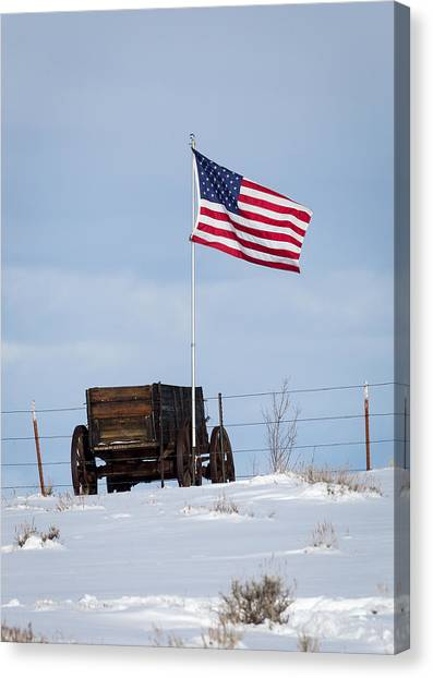Wagon And Flag Canvas Print
