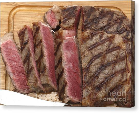 Ribeye Canvas Print - Wagyu Steak Cut On Board by Paul Cowan