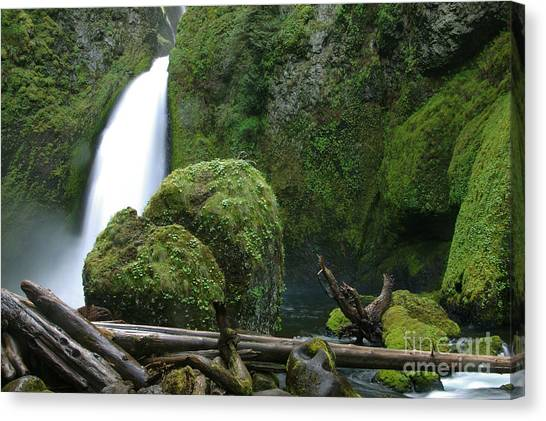 Wahclella Falls And Boulder Canvas Print