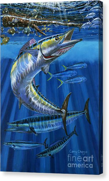 Miami Dolphins Canvas Print - Wahoo Rip Off0047 by Carey Chen