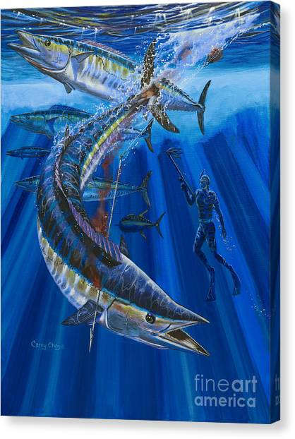 Tiger Sharks Canvas Print - Wahoo Spear by Carey Chen