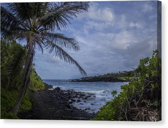 Black Sand Canvas Print - Waianapanapa Lookout by Brad Scott
