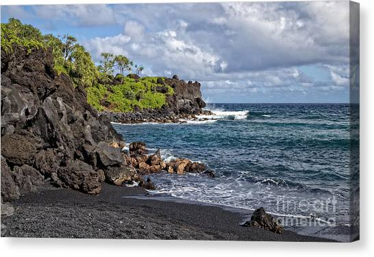 Bob Ross Canvas Print - Waianapanapa State Park's Black Sand Beach Maui Hawaii by Edward Fielding