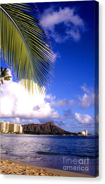 Waikiki Beach Diamond Head Canvas Print
