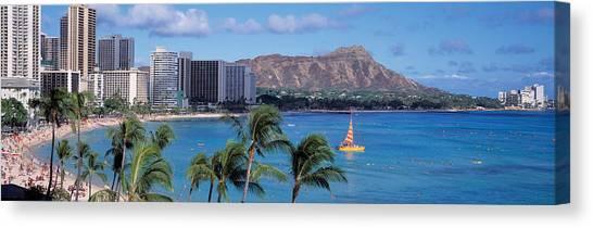 Beach Resort Vacation Canvas Print - Waikiki Beach, Honolulu, Hawaii, Usa by Panoramic Images