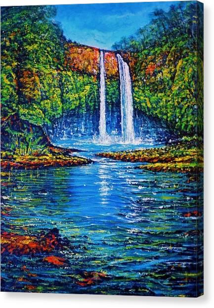 Wailua Falls Kauai Canvas Print by Joseph   Ruff
