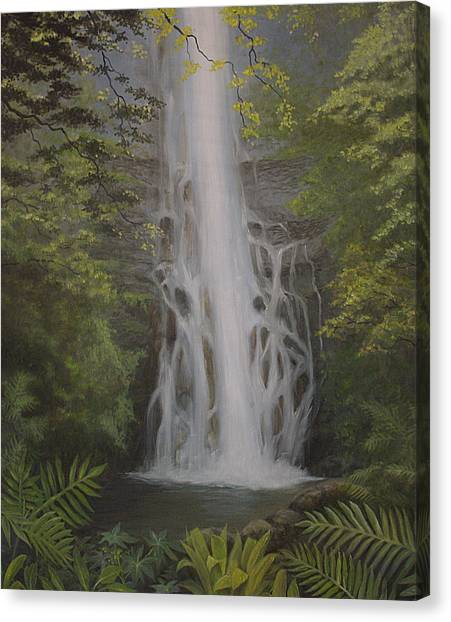 Wailua Falls Canvas Print by Wallace Kong