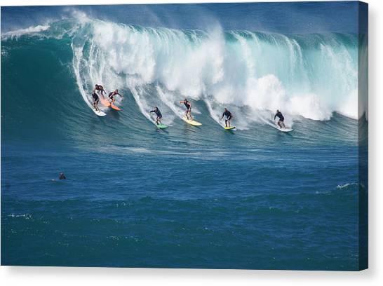 Jet Skis Canvas Print - Waimea Bay Crowd by Kevin Smith