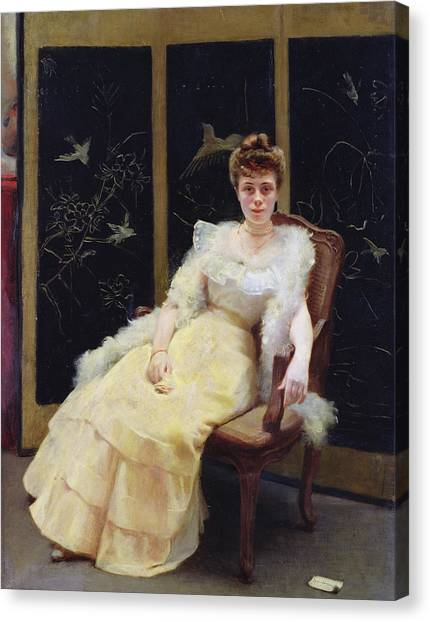 Boas Canvas Print - Waiting, 1901 Oil On Canvas by Ernst Philippe Zacharie
