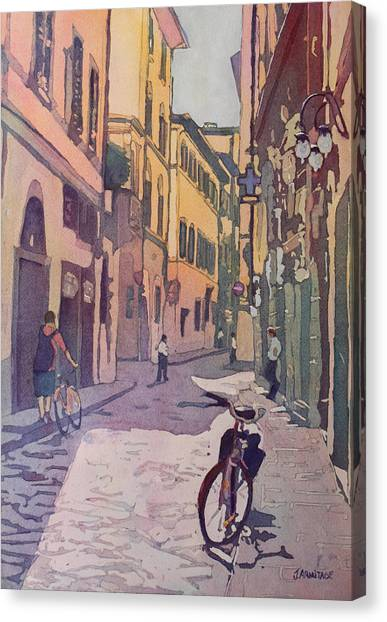 Roads Canvas Print - Waiting Bike by Jenny Armitage