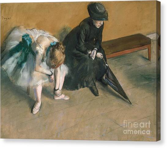 Anxious Canvas Print - Waiting  by Edgar Degas
