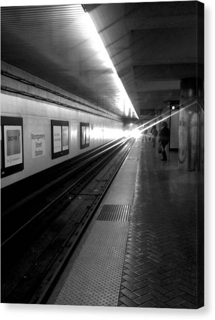 Waiting For Bart -black And White Canvas Print