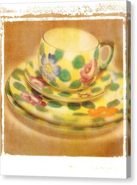 Saucer Canvas Print - Waiting For Tea by Rebecca Cozart
