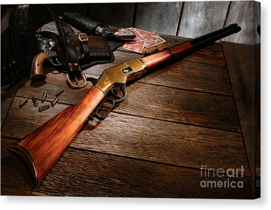 Shotguns Canvas Print - Waiting For The Gunfight by Olivier Le Queinec