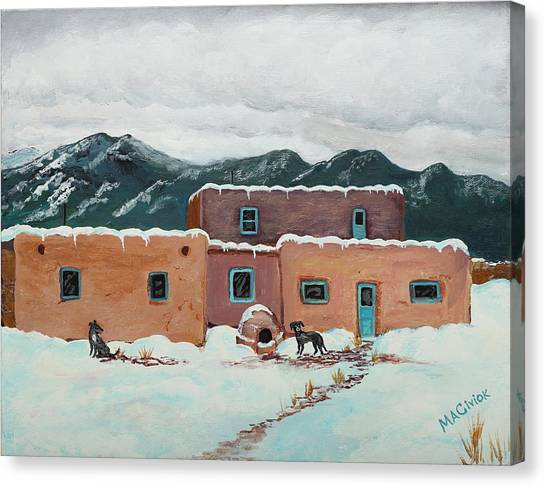 Waiting In Taos Canvas Print by Mary Anne Civiok