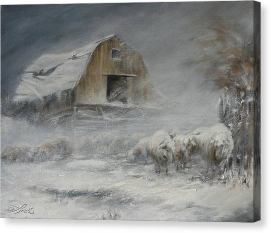 Winter Storm Canvas Print - Waiting Out The Storm by Mia DeLode