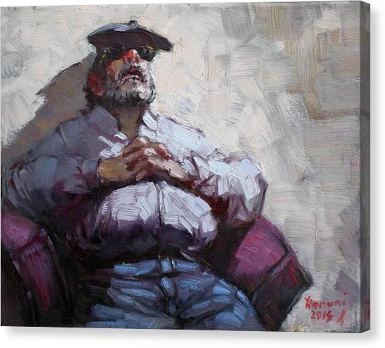 Old Man Canvas Print - Waiting Room Nap by Ylli Haruni