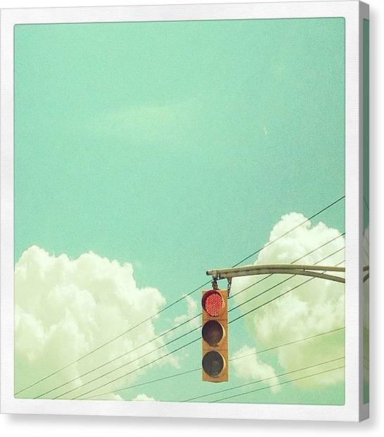 Jerseys Canvas Print - Waiting To Go #trafficlight #redlight by Red Jersey