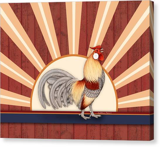 Chicken Farms Canvas Print - Wakeup Call by Katherine Plumer