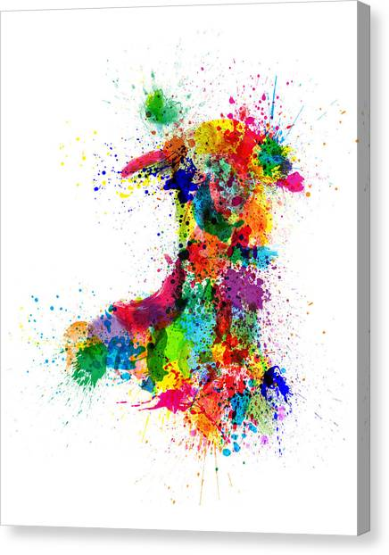 Wales Canvas Print - Wales Paint Splashes Map by Michael Tompsett