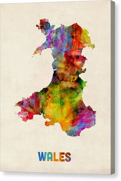Urban Art Canvas Print - Wales Watercolor Map by Michael Tompsett