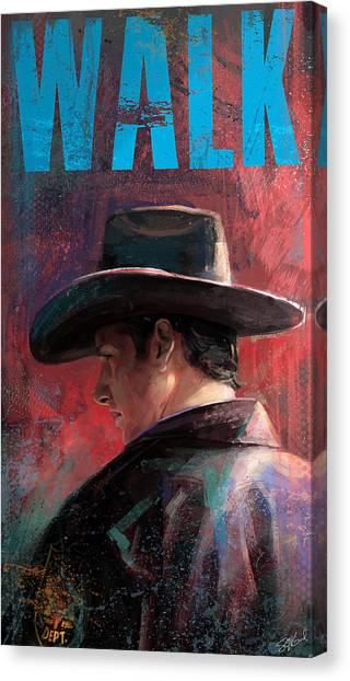 Cowboy Canvas Print - Walk by Steve Goad