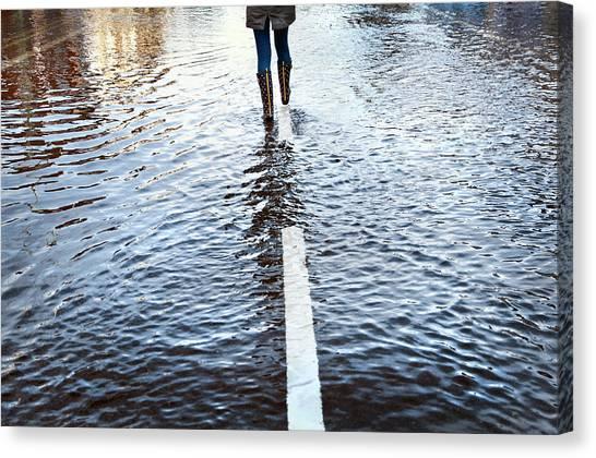 Walk Canvas Print - Walk The Line by Linda Wride