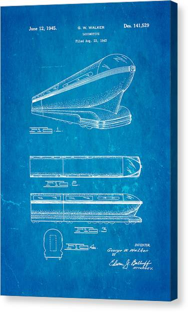 Bullet Trains Canvas Print - Walker Train Locomotive Patent Art 1945 Blueprint by Ian Monk