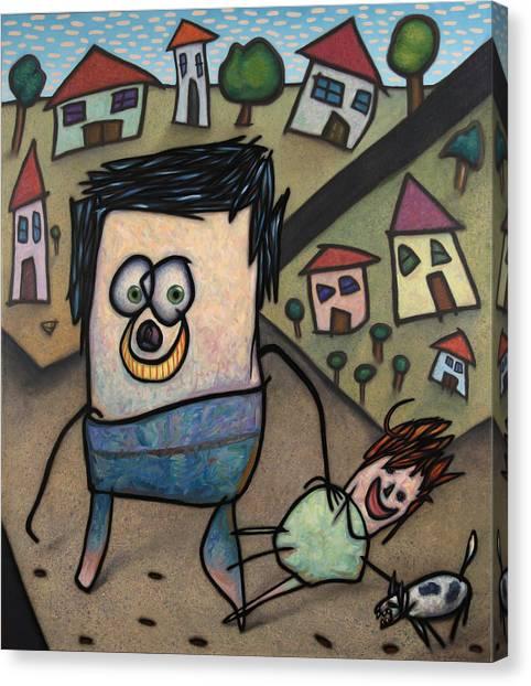Dog Walking Canvas Print - Walkin The Dog by James W Johnson