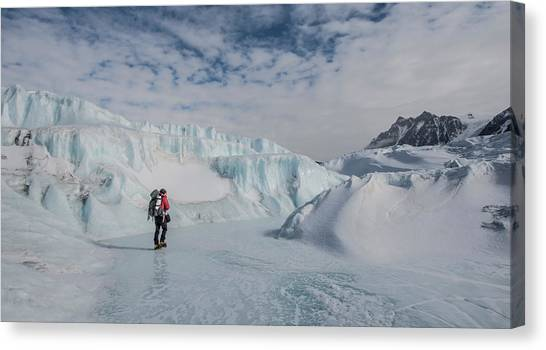 Canada Glacier Canvas Print - Walking Down A Frozen River On The Top by Alasdair Turner