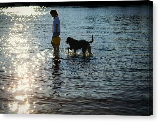Dog Walking Canvas Print - Walking On Sunshine by Laura Fasulo