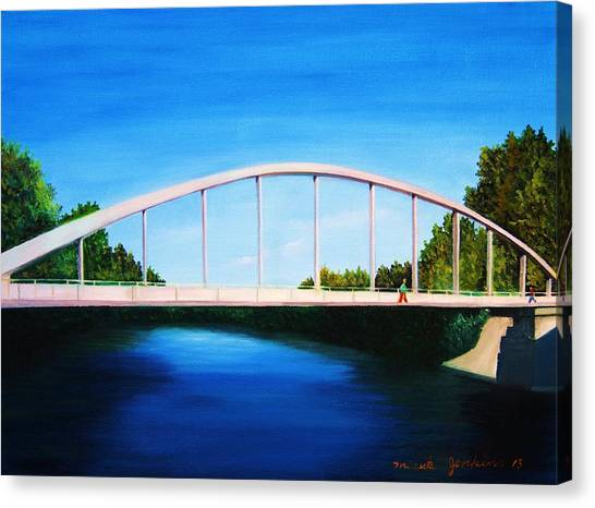 Walking On The Bridge  Canvas Print