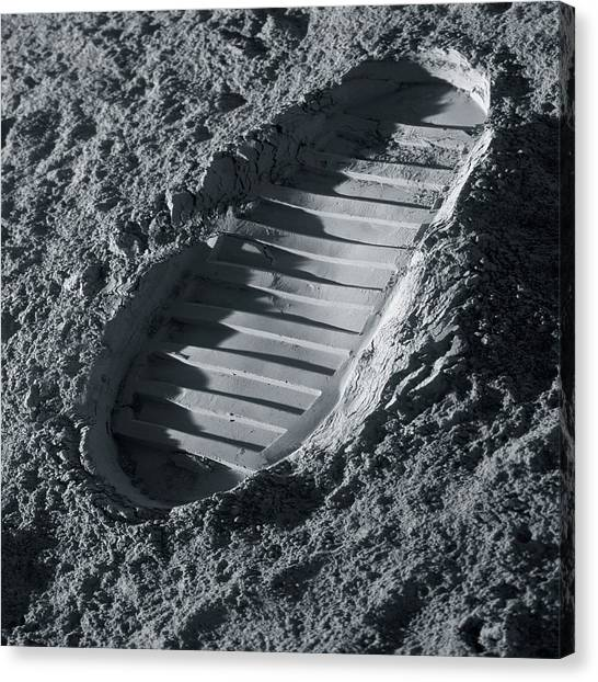 Astronauts Canvas Print - Walking On The Moon by Detlev Van Ravenswaay
