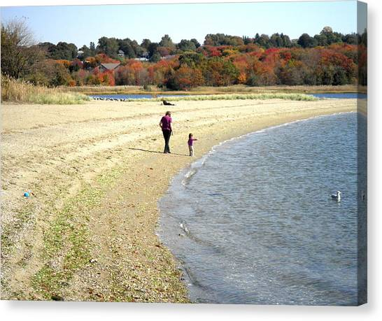 Walking The Beach In October Canvas Print by Kate Gallagher