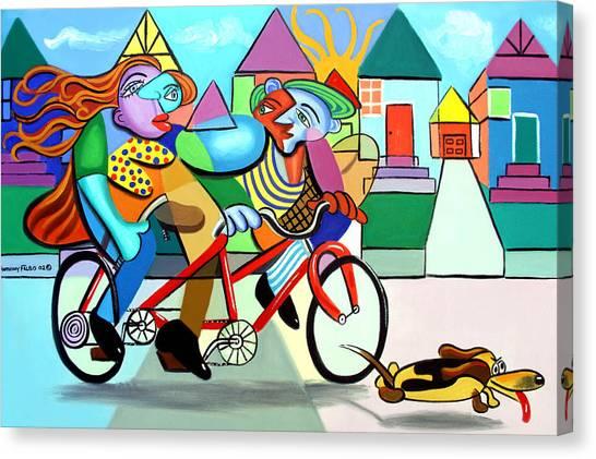 Dog Walking Canvas Print - Walking The Dog by Anthony Falbo