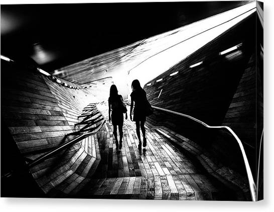 Street Canvas Print - Walking Towards The Light by Tetsuya Hashimoto