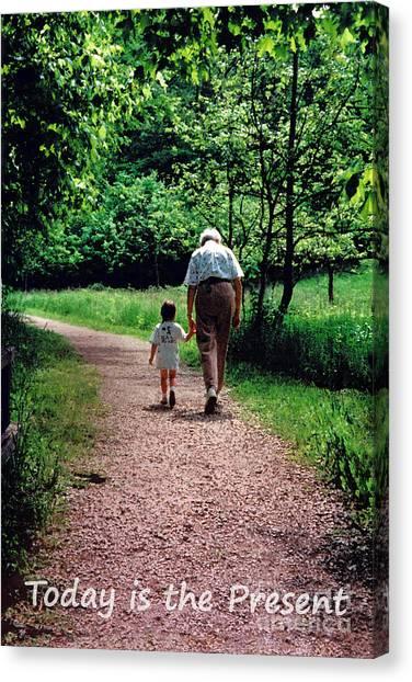 Walking With Grandma Canvas Print