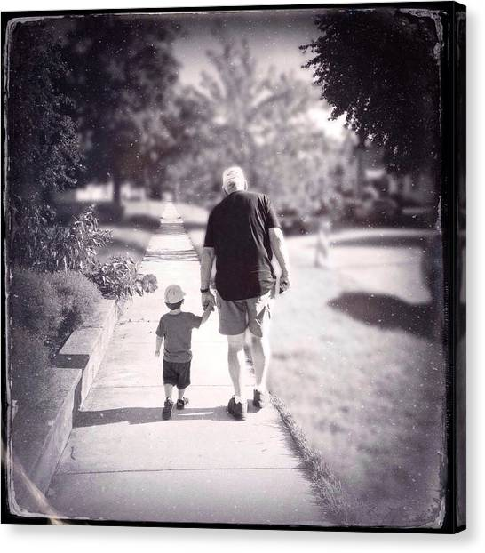Grandpa Canvas Print - Walking With Grandpa by Natasha Marco