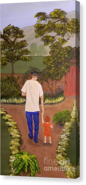 Walking With Papa Canvas Print