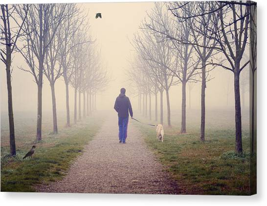Walking With The Dog Canvas Print