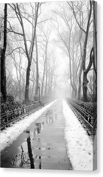 Walkway Snow And Fog Nyc Canvas Print