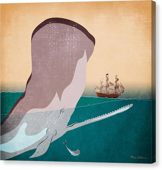 Whale Canvas Print - Wall 6 by Mark Ashkenazi