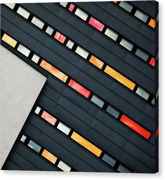 Modern Architecture Canvas Print - Wall Of Windows by Hans-wolfgang Hawerkamp