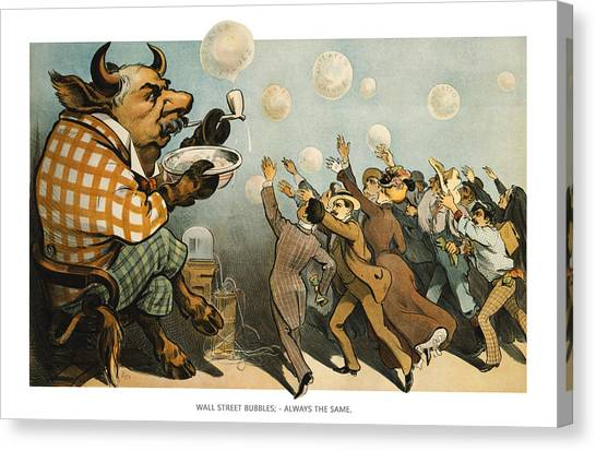 Flyer Canvas Print - Wall Street Bubbles Always The Same by Aged Pixel