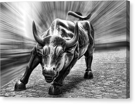 Wall Street Bull Black And White Canvas Print