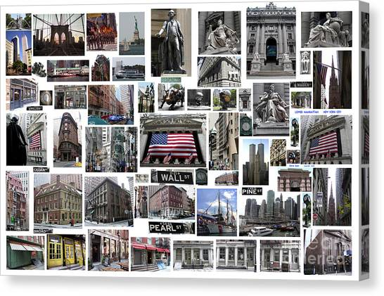 Wall Street Financial District Collage Canvas Print