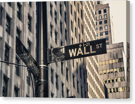 Stock Market Canvas Print - Wall Street Sign by Garry Gay