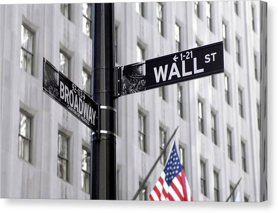 Street Signs Canvas Print - Wall Street Sign by Mark Thomas/science Photo Library