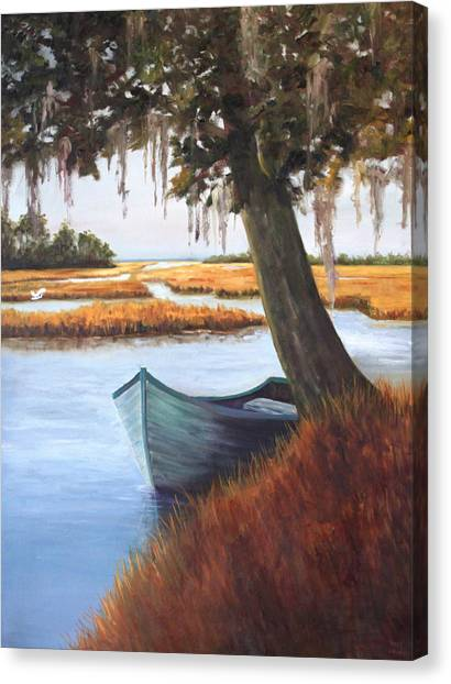Wallowing In The Marsh Canvas Print by Karen Langley